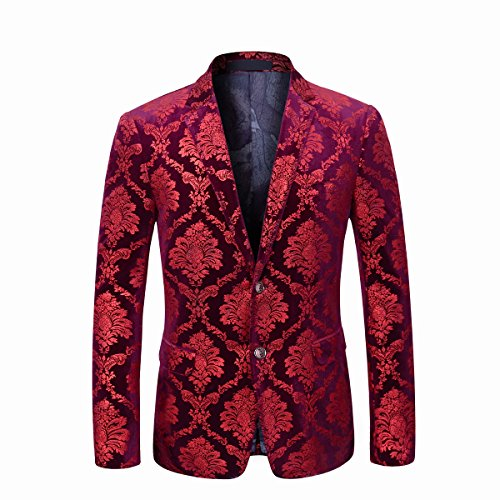 Boyland Men's Dress Suit Jacket Luxury Jacquard Notched Lapel Floral Blazer Formal Dress Prom Red