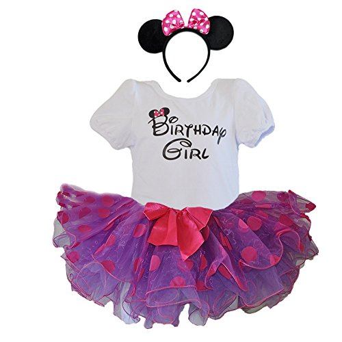 (Birthday Girl T-Shirt with Polka Dot Tutu and Headband 3 PCs Set (Age 3, Purple with Purple dots))
