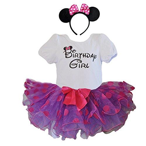 (Birthday Girl T-Shirt with Polka Dot Tutu and Headband 3 PCs Set (Age 4, Purple with Purple dots))