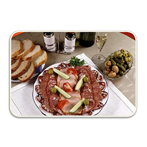 (huangyan Sausage Meats Pickles Olives Mushrooms Floor Mat Coral Fleece Home Decor Carpet Indoor Rectangle Doormat Kitchen Floor Runner 20