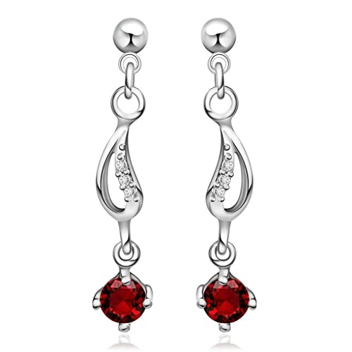 d0c26a791c47 KNSAM - Pendientes Mujer Cristal Redondo Rojo Bañado con Plata 925 Aretes  para Novias  Amazon.es  Joyería