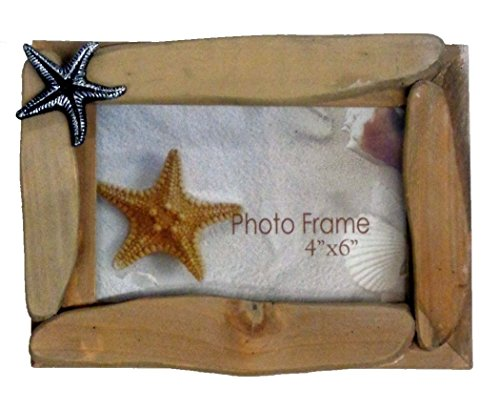 - Barry Owens Co. Inc. Driftwood Plank Photo Frame with Starfish Icon, Holds 4 Inch x 6 Inch Picture