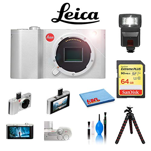 Leica T Digital Camera (Silver, 18181) with Sandisk 64GB Extreme Memory Card, 12 inch Tripod, Digital Flash and Cleaning Kit