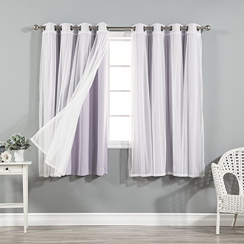 Best Home Fashion Mix & Match Tulle Sheer Lace and Blackout Curtain Set - Stainless Steel Nickel Grommet Top - Lilac - 52