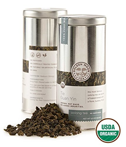 (Golden Moon - Organic Oolong Loose Leaf Tea | Naturally Creamy Texture & Deliciously Smooth Taste | Tie Guan Yin Wulong Tea Variety is Good for Weight Loss | 40 Servings in 3.3 Oz Tea Tin)