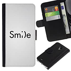 iBinBang / Flip Funda de Cuero Case Cover - Emoticono inspirador texto blanco - Samsung Galaxy S4 Mini i9190 MINI VERSION!