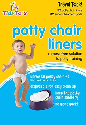 - Tidy Tots Disposable Potty Chair Liners - Travel Pack XL - 32 Liners and 32 Super-Absorbent Pads, White