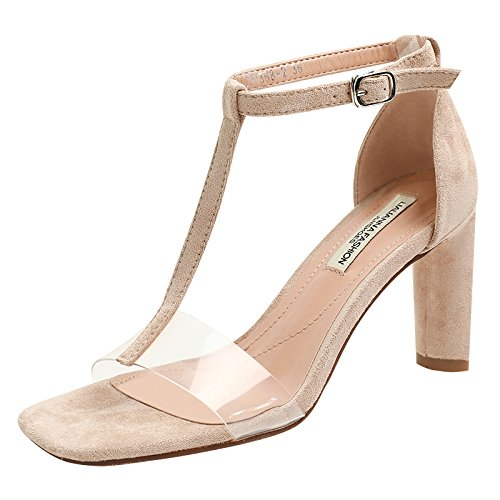 Apricoted suede AGECC Transparent Sandals with talons hauts of talons hauts Thirty-eight