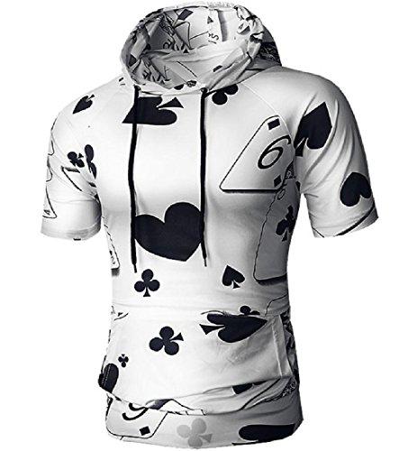Winwinus Men Poker Print Relaxed-Fit Sportstyle Base Layers with Hood Black - Walking Dead Set Poker