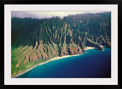 GreatBIGCanvas ''Hawaii, Kauai, Kalalau Valley, Na Pali Coast, Secluded Beaches'' by Peter French Photographic Print with Black Frame, 36'' x 24'' by greatBIGcanvas