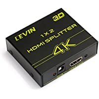 Levin 4K HDMI Splitter 1 to 2 , Audio Video Switcher/Switch Box Hub with AC Adapter Converter