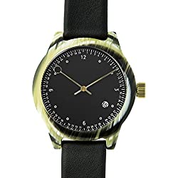 Squarestreet SQ03 Minuteman Two Hand Black Watch | Horn/Black Leather