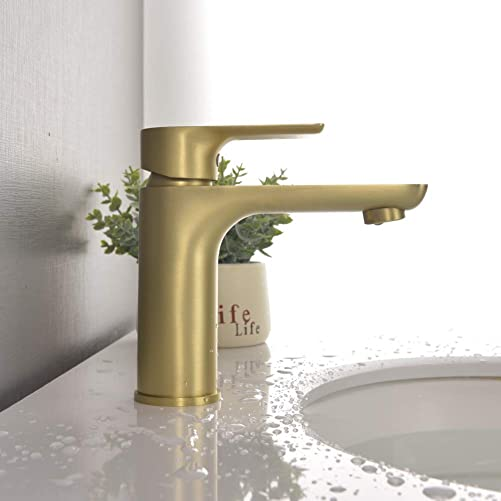 SHAMANDA Brass Bathroom Faucet, Single Handle One Hole Brushed Gold Bathroom Sink Faucet with cUPC Water Supply Lines, LB201-3