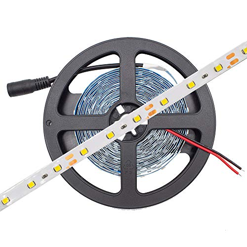 HitLights Cool White LED Light Strip, 3528-16.4 Feet, 300 LEDs, 3000K, 72 Lumens per Foot. 12V DC Tape Light