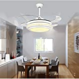 TiptonLight Chrome Crystal Retractable Led Ceiling Fan-42 Inch with 4 Leaves-Simple Style for Bedroom,Living Room,Indoor,Outdoor and Children's Room