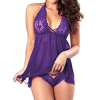d99ffba7325 hot womens lingerie babydoll sleepwear underwear lace dress g string  nightwear plus size s xxl Purple M  Amazon.in  Clothing   Accessories