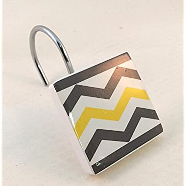 Chevron Shower Curtain Hooks Yellow, White, Gray Resin 12 Pieces