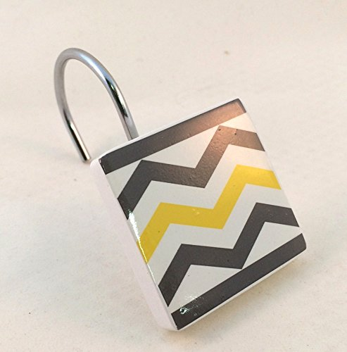 Chevron Shower Curtain Hooks Yellow, White, Gray Resin 12 Pieces by Mainstay