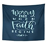 VaryHome Tapestry Religious Worry Ends When Faith Begins Bible Verse Hand Lettered Quote Modern Calligraphy Christian Word Home Decor Wall Hanging for Living Room Bedroom Dorm 50x60 Inches