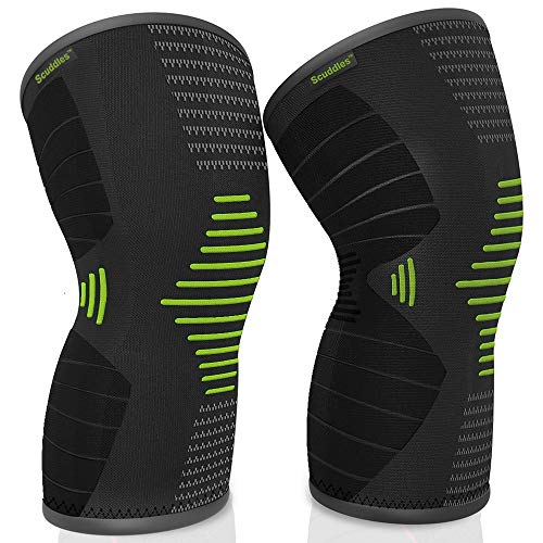 scuddles 2 Pack Knee Brace for Women, Men Compression Sleeve Support for Running, Jogging, Sports – Brace for Joint Pain Relief, Arthritis and Injury Recovery