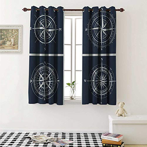 shenglv Compass Customized Curtains White Compasses with Navy Blue Background Navigation Sailing Themed Art Curtains for Kitchen Windows W63 x L45 Inch Navy Blue and White