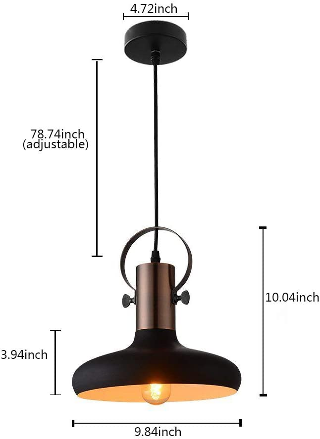 MSTAR Industrial Black Mini Pendant Light Metal Hanging Ceiling Light Fixture for Dinning Room Kitchen Bar Cafe with Inner White Shade