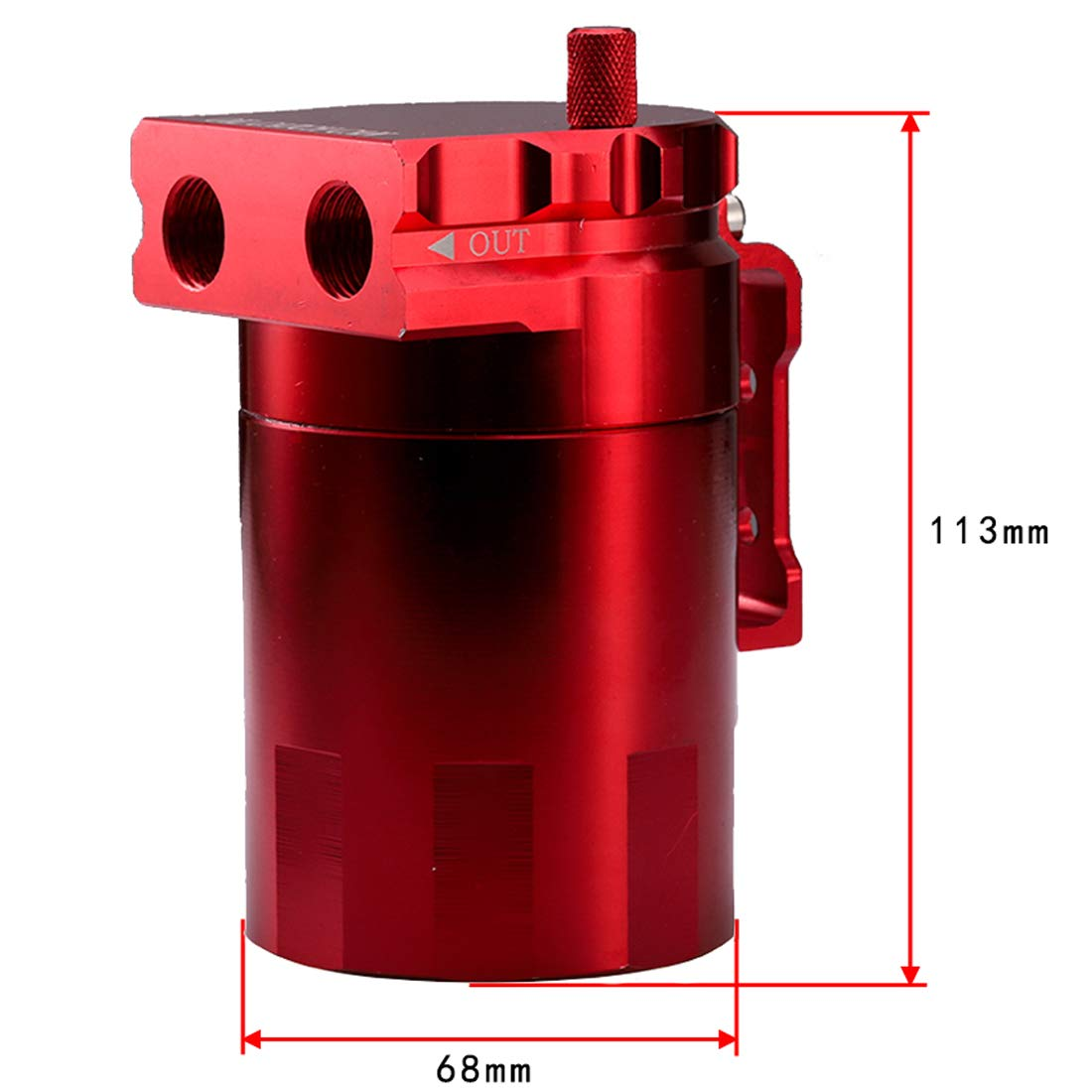 Silver JDMON Oil Catch Can Tank Kit with Breather 300ml Aluminum Polish Baffled Engine Air Oil Separator Tank Reservoir Kit Universal