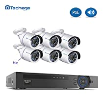AUDIO CAMERA SYSTEMTechage 8CH 1080P POE NVR CCTV System With Audio Indoor Waterproof Home Security Surveillance Kit With 6PCS IP Camera With Mic, Without Hard Drive