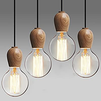 Injuicy Lighting RH LOFT Edison E27 Bulb Retro Wood Light Pendant Chandelier Aisle Lamp Cafe Shop