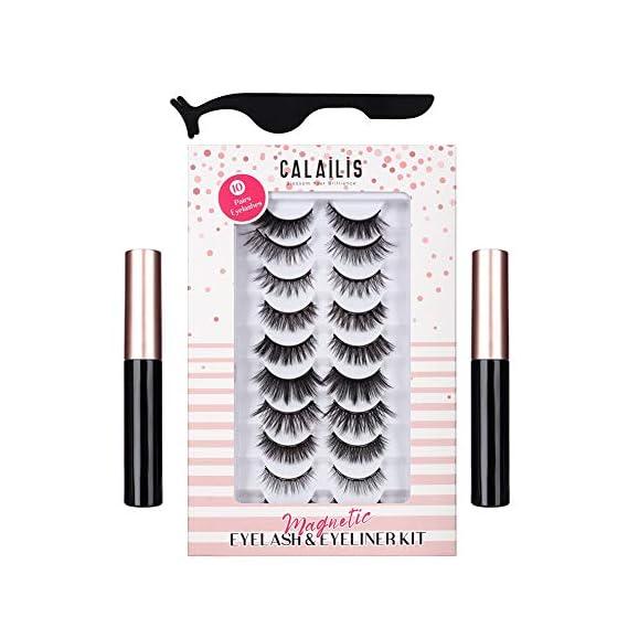 CALAILIS Magnetic Eyeliner and Eyelashes Kit 3D Faux Mink Fake Eye Lashes No Glue Needed with Tweezers Synthetic Fiber