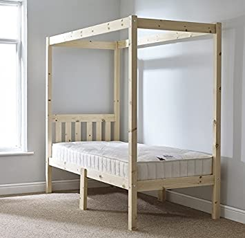 single 3ft four poster bed frame solid natural pine 4 poster bed frame heavy - Four Poster Bed Frame