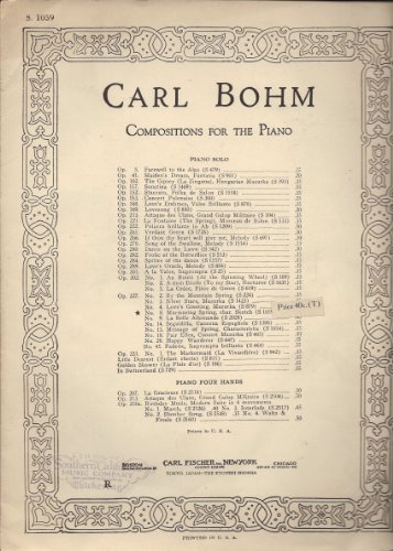 Carl Bohm Compositions for the Piano 5 Modern Favorites MCMVI
