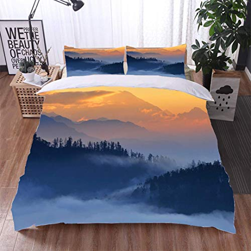 Euro Hill Quilt - VROSELV-HOME Cotton Bedding Sets,View from Poon Hill Dhaulagiri massif Himalaya,Soft,Breathable,Hypoallergenic,Bedding Set for Teen 3PCS