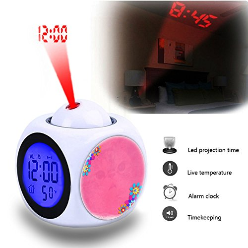 Projection Alarm Clock Wake Up Bedroom with Data and Temperature Display Talking Function, LED Wall/Ceiling Projection,Customize the pattern-031.Background, Pink, Floral, Plant, Flowers, Template (031 Projector)
