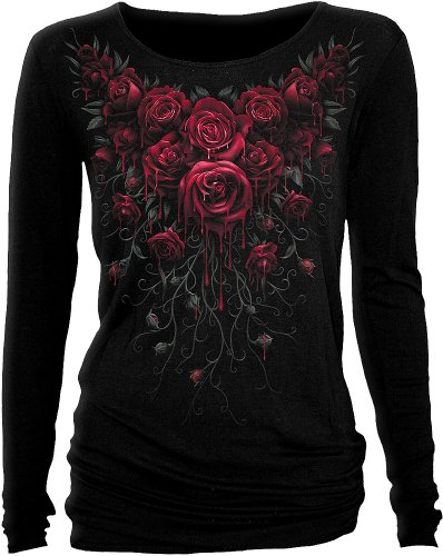 (Spiral - Womens - Blood Rose - Baggy Top Black - M)
