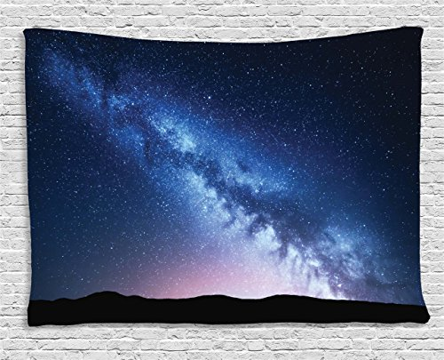 Ambesonne Scenery Decor Tapestry by, Night View Landscape of Nebula Cosmos Stardust on Hill Valley Image, Wall Hanging for Bedroom Living Room Dorm, 80WX60L Inches, Black and Dark Blue (Hill Outdoor Hanging Wall)