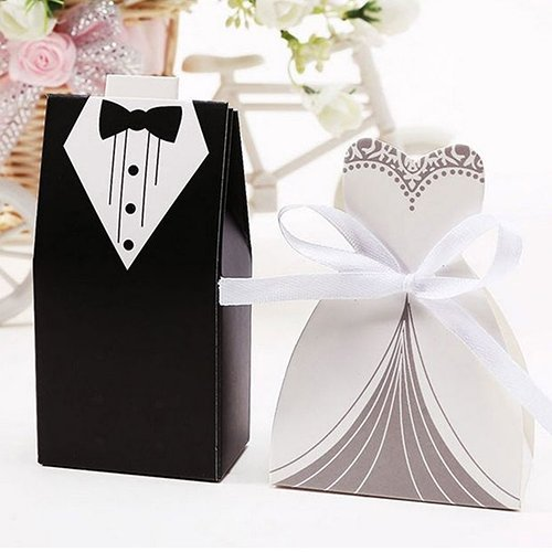 GRC[TM] Best Price 100 pcs Bridal Groom Dress Tuxedo Wedding Gift Favors Favor Candy Cake Party Boxes Bags Anniversary (Knife Wedding Favors)