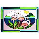 Bird Flamingo Painted/Stained Glass Panel V-229