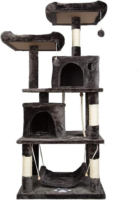 LARS360 Arbol para Gatos Árbol de Escalada Cat Climbing Tree Sisal con 4 Plataformas, 3 Bola de Juego y Cueva, Color Gris Ahumado Altura 145cm