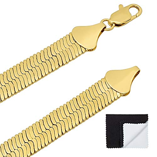10.5mm 14k Gold Plated Herringbone Chain Necklace, 18
