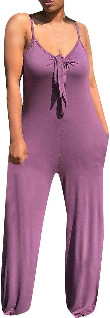 Pandapang Womens Baggy Sleeveless V Neck Wide Leg Rompers Jumpsuits