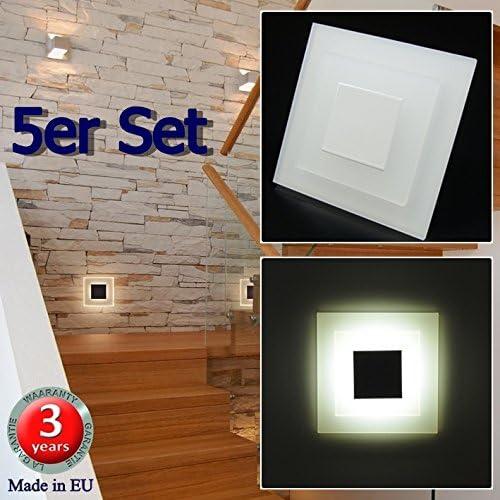 Juego de 5 SUN-LED focos lámpara de pared LED para escaleras, escalera, corridor, luz blanca