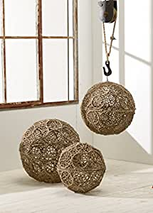 KINDWER Jute Wrapped Iron Decorative Ball Set Available in 18-Inch, 16-Inch and 12-Inch