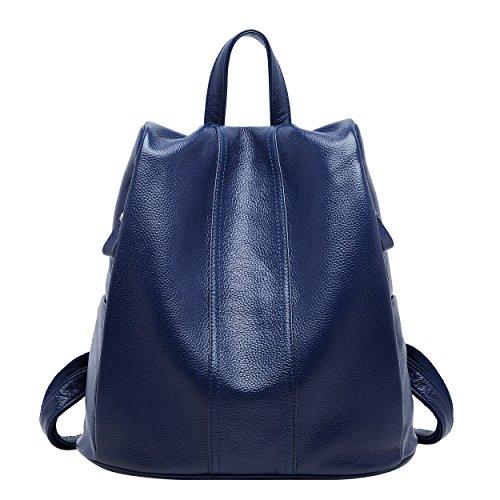 BOYATU mujer de cuero Mochila grande recorrido del monedero del bolso de las señoras Antirrobo hombro Azul