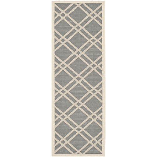Safavieh Courtyard Collection CY6923-246 Anthracite and Beige Indoor/Outdoor Runner (2'3