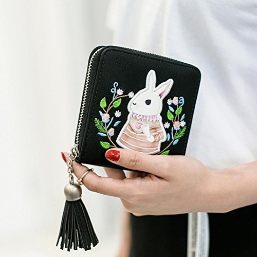 Gift ! Sinwo Cute Small Mini Wallet Holder Zip Coin Purse Clutch Handbag Womens Grils (Black)