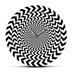 JJYM Wall Clock Spiral Geometric Optical Illusion Modern Wall Clock Hypnotic Black and White 3D Vision Wall Clock Silent Sweep Abstract Wall Art
