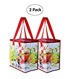 Earthwise Insulated Reusable Grocery Bag Shopping Tote with Zipper Top Lid Fruit Splash Print Thermal for Frozen or Hot Food Carrier Collapsible (Pack of 2)