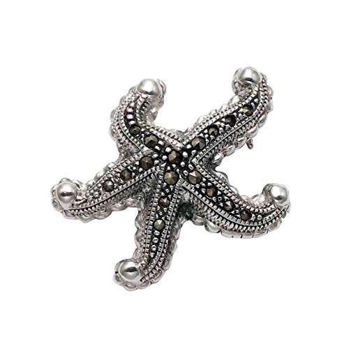 Wild Things Sterling Silver & Marcasite Starfish Pin
