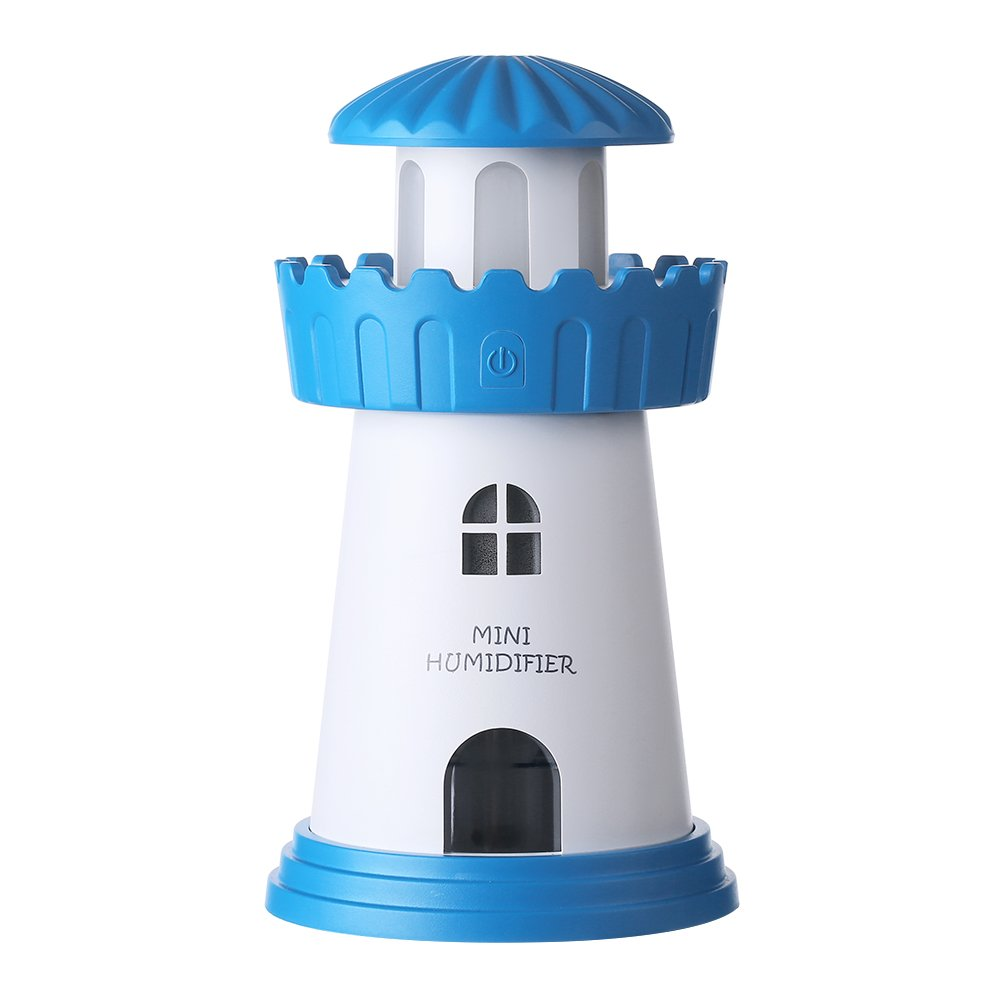 Trendsettings Lighthouse Humidifier Nightlight – Decorative & Functional Decor for Baby Nursery or Kid's Bedroom, Small, Quiet, Portable USB Air Moisture Mister